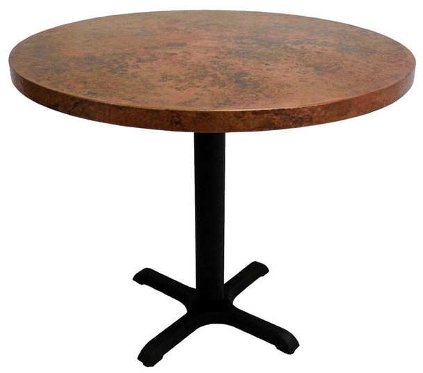 Round Copper Bar Height Table with Cast Iron X-Base