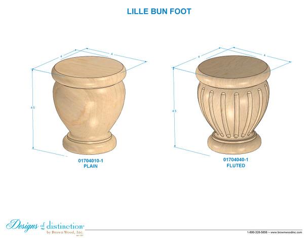 """4-1/2"""" Fluted Lille Bun Foot"""