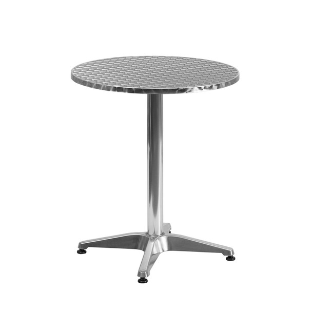 Round Aluminum Indoor-Outdoor Table with Base