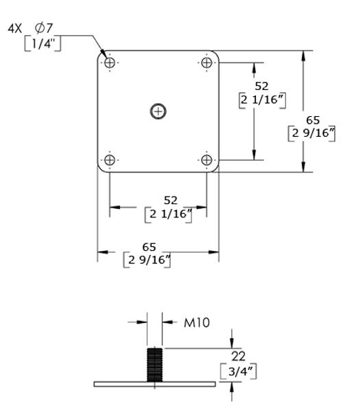 "6"" Adjustable Furniture Leg - D50M-150"