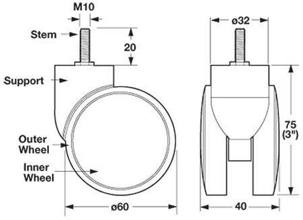 """3"""" Swiveling Stem Mount Twin Wheel"""