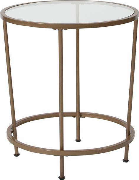 Astoria Collection Glass End Table with Matte Gold Frame