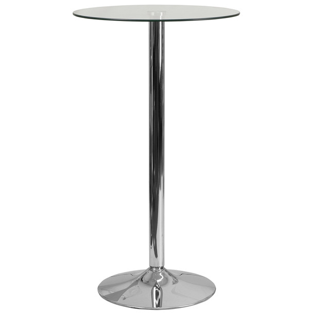 """23-3/4"""" Round Glass Table with 41-3/4""""H Chrome Base"""