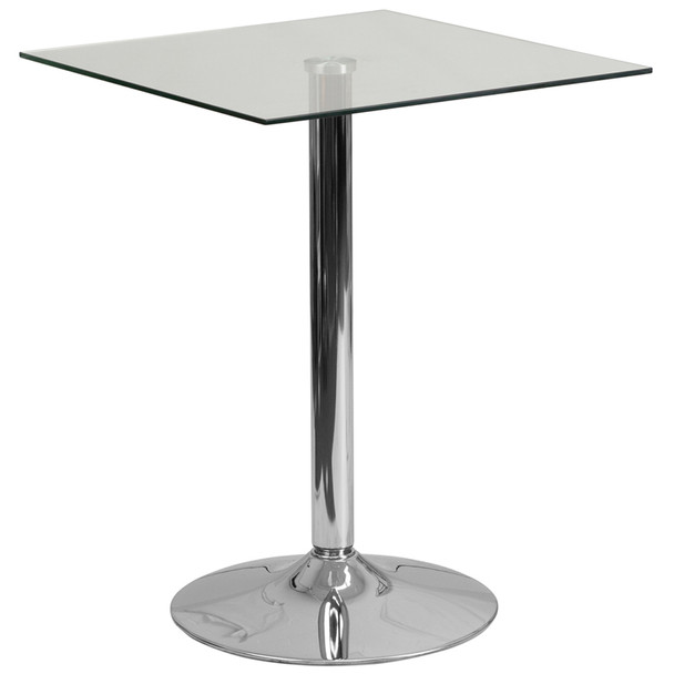 "23-3/4"" Square Glass Table with 30""H Chrome Base"