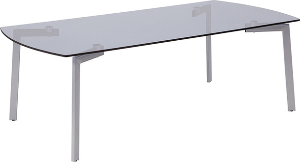 Brighton Collection Smoked Glass Coffee Table with Silver Metal Legs