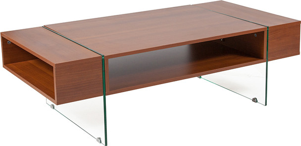 Lafayette Place Cherry Wood Grain Finish Coffee Table with Glass Legs