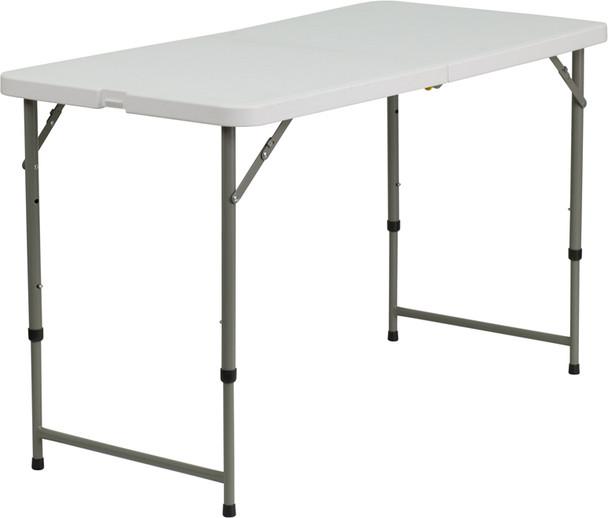 "24""W x 48""L Height Adjustable Bi-Fold Granite White Plastic Folding Table"