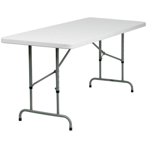 "30""W x 72""L Height Adjustable Granite White Plastic Folding Table"