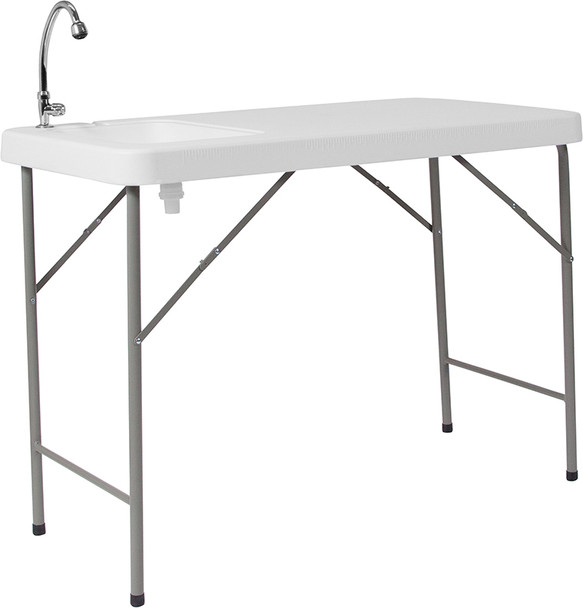 """23""""W x 45""""L Granite White Plastic Folding Table with Sink"""