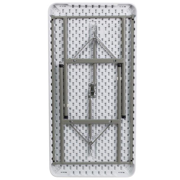 "24""W x 48""L Granite White Plastic Folding Table"