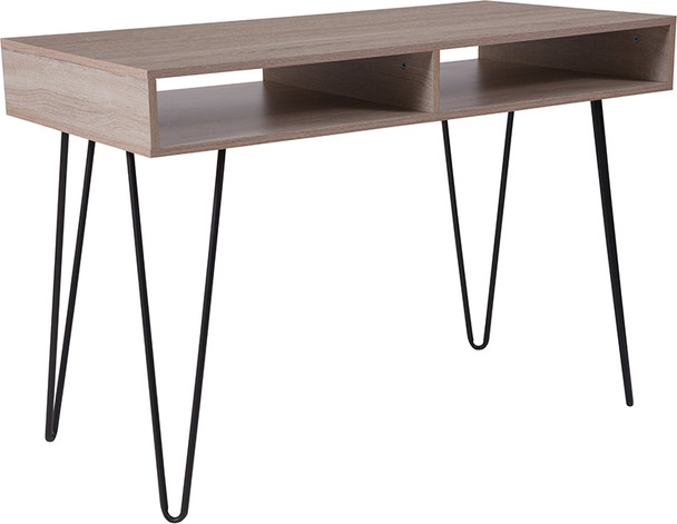 Franklin Oak Wood Grain Finish Computer Table with Black Metal Legs