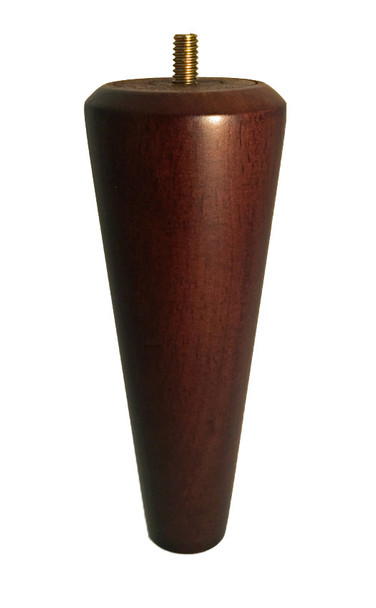 "6"" Tall Medium Walnut Tapered Wood Leg"