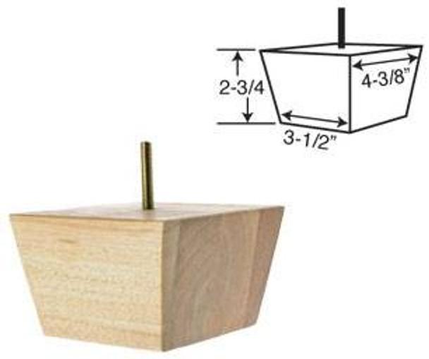 """2-3/4"""" tall x 4-3/8"""" wide Wood Furniture Leg"""