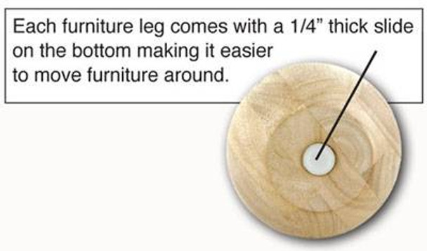 "4"" tall x 4-3/4"" Wood Bun Leg"