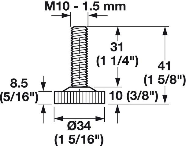 """M10 Leveler Foot - Nylon, 1-5/16"""" Diameter"""