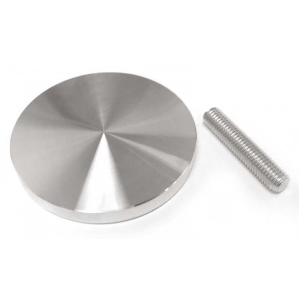 """85mm (3-3/8"""") Aluminum glass adapter with M10 x 2"""" threaded rod"""