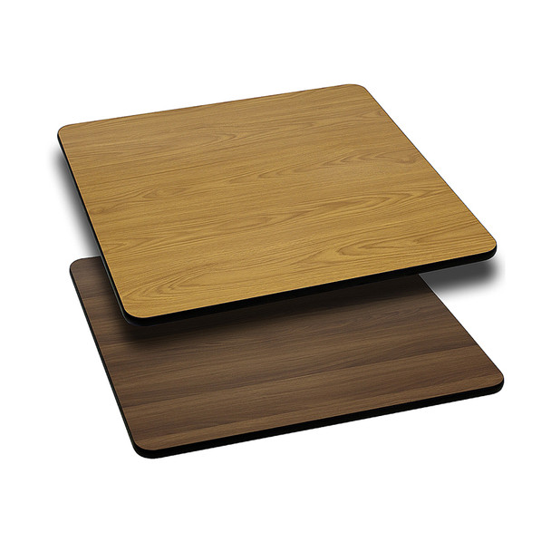 Square Reversible Laminate Table Top -  with Light / Dark Combos