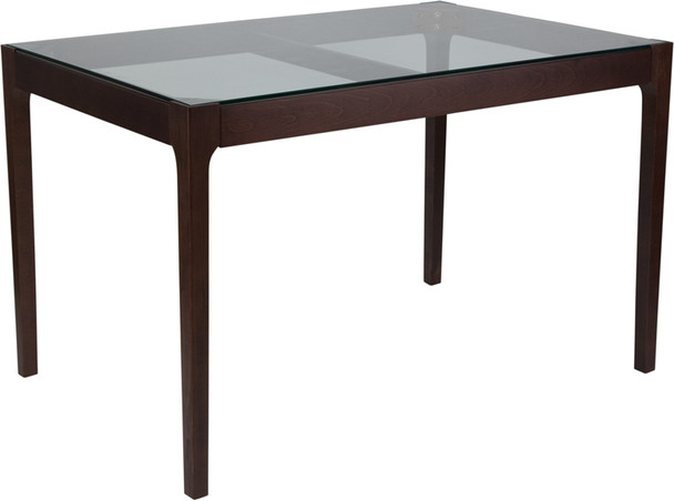 Everett Wood Table with Clear Glass Top and Exposed Industrial Hardware