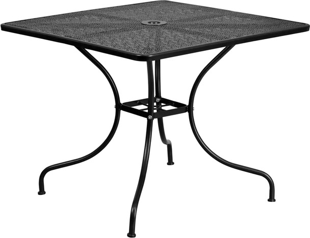 Square Indoor-Outdoor Steel Patio Table with Arched Base