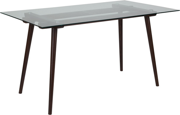 Meriden Wood Table with Clear Glass Top