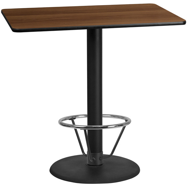 Rectangular Laminate Table Top with Round Table Base