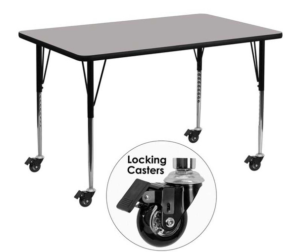 Rectangular Grey High Pressure Laminate Activity Table with Standard Height Adjustable Legs