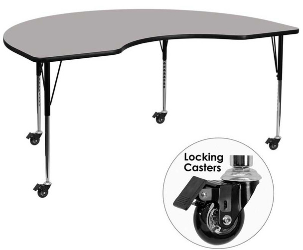 Kidney High Pressure Laminate Activity Table with Standard Height Adjustable Legs