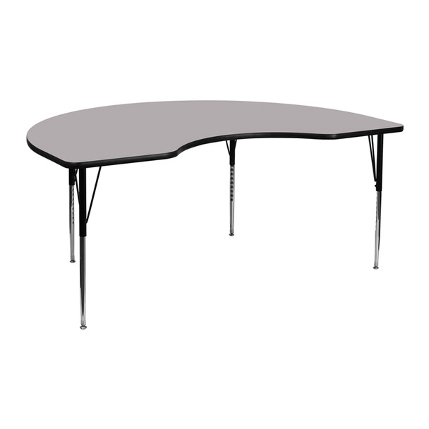 Kindey Shaped Thermal Laminate Activity Table with Standard Height Adjustable Legs