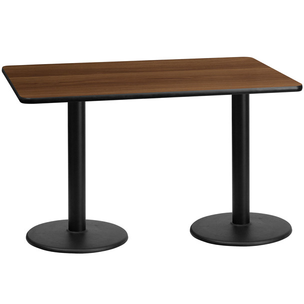 Rectangular Laminate Table Top with Round Table Bases