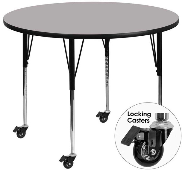 Round Thermal Laminate Activity Table with Standard Height Adjustable Legs