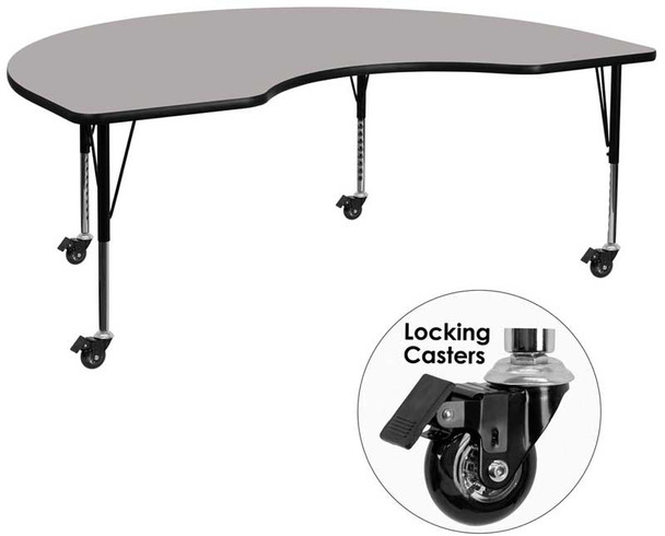 Kidney High Pressure Laminate Activity Table with Short Height Adjustable Legs