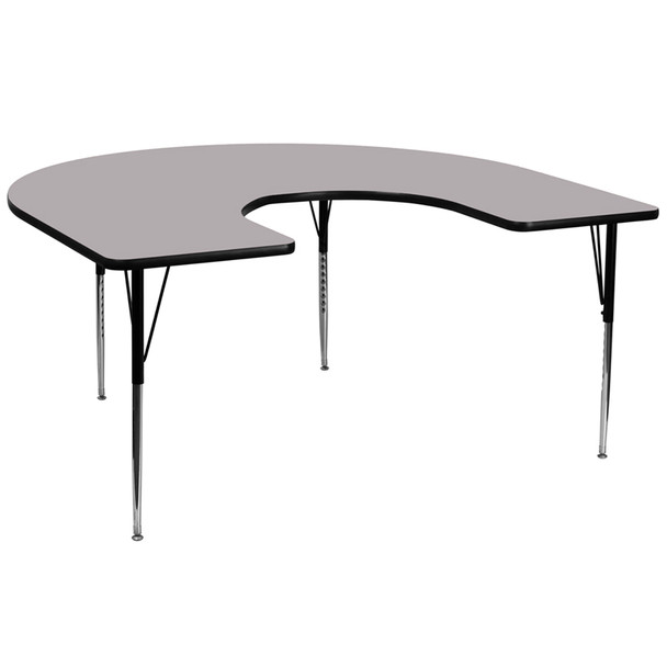 Horseshoe Thermal Laminate Activity Table with Standard Height Adjustable Legs