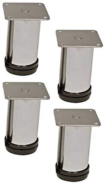 "4"" tall, Polished Chrome Furniture Legs, Set of Four"