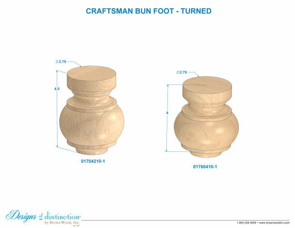 "4-1/2"" Craftsman Bun Foot"