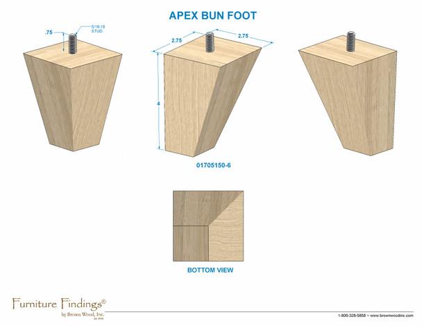 """4"""" Apex Bun Foot with Hanger Bolt"""