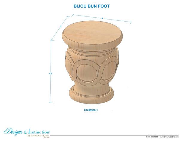 "4-1/2"" Bijou Carved Bun Foot"