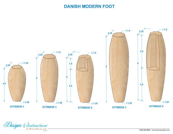 "6"" Danish Modern Bun Feet - Notched"