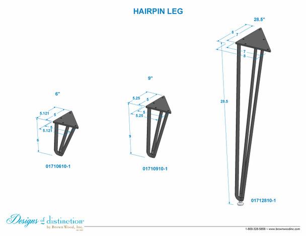 """6"""" Hairpin Leg"""