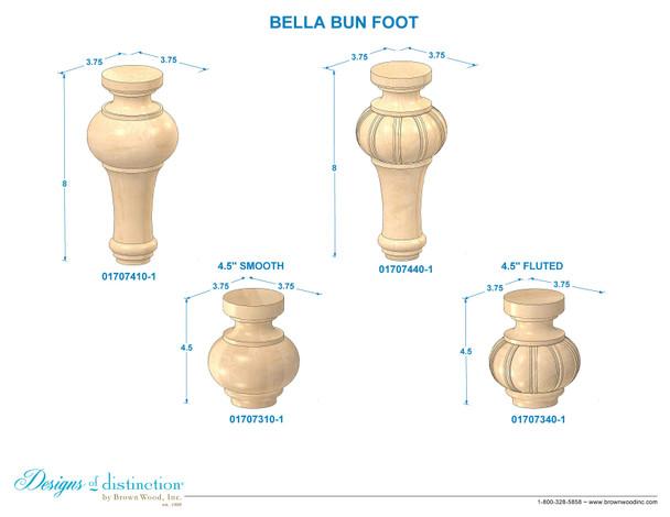 """8"""" Fluted Carved Bella Bun Foot w/Hanger Bolt"""