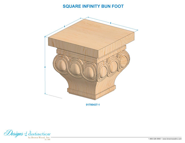 """4"""" Infinity Square Bun Foot"""