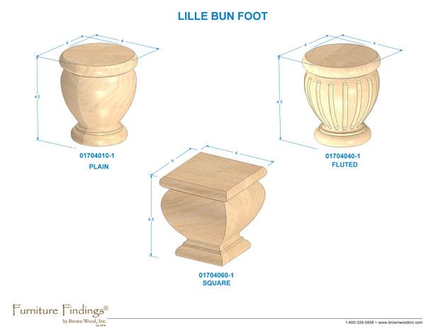 """4-1/2"""" Lille Plain Bun Foot w/Hanger Bolt"""