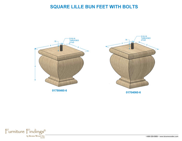 "4-1/2"" Square Lille Bun Foot w/Hanger Bolt"