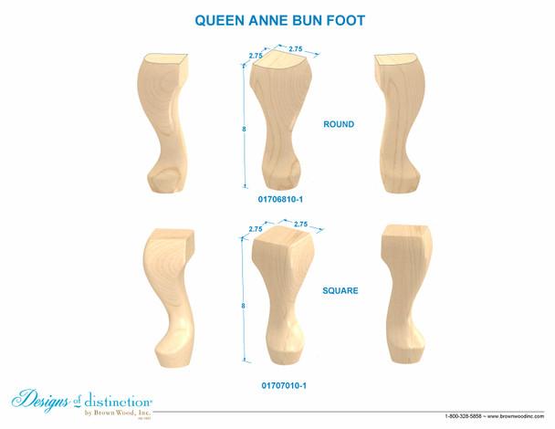 Queen Anne Square Bun Foot