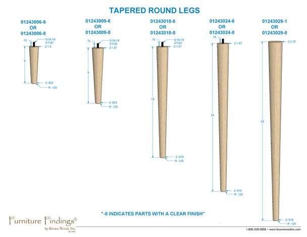 """9"""" Round Tapered Leg"""