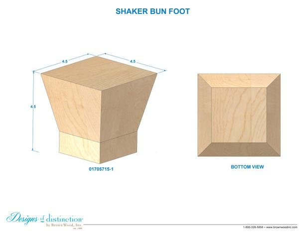"4-1/2"" Shaker Carved Bun Foot"