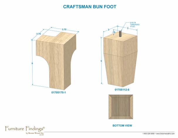 "6"" Square Craftsman Bun Foot w/Hanger Bolt"
