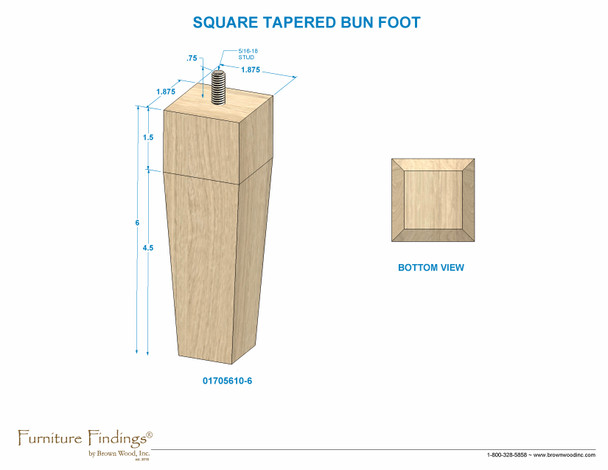 Square Tapered Foot w/Hanger Bolt