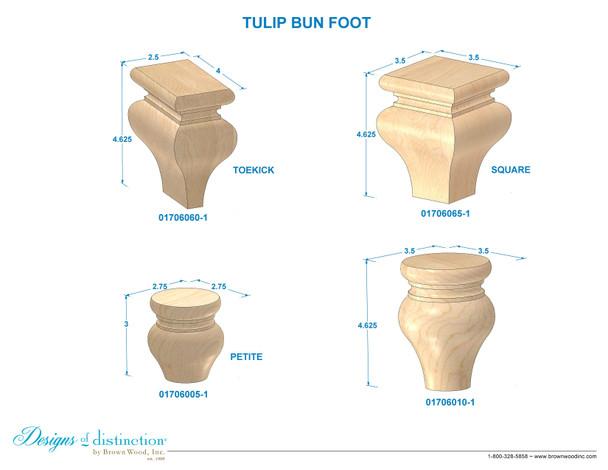 """4-1/8"""" Square Tulip Bun Foot"""