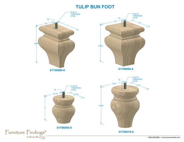 "4-1/8"" Square Tulip Bun Foot with Hanger Bolt"