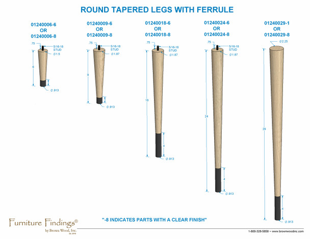 """6"""" Round Tapered Leg with bolt & 1"""" Ferrule"""